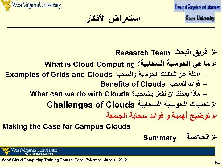 ﺍﺳﺘﻌﺮﺍﺽ ﺍﻷﻔﻜﺎﺭ Research Team ﻓﺮﻳﻖ ﺍﻟﺒﺤﺚ Ø What is Cloud Computing ﻣﺎ ﻫﻲ