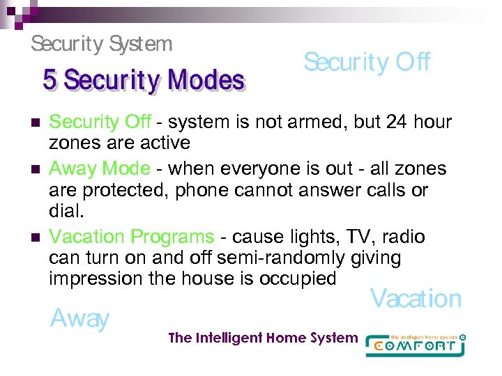 n n n Security Off - system is not armed, but 24 hour zones
