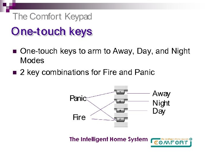 n n One-touch keys to arm to Away, Day, and Night Modes 2 key