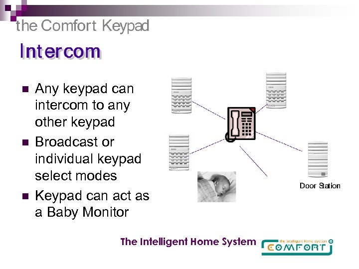 n n n Any keypad can intercom to any other keypad Broadcast or individual