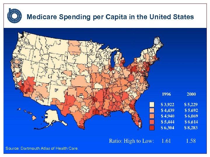 Medicare Spending per Capita in the United States Source: Dartmouth Atlas of Health Care.
