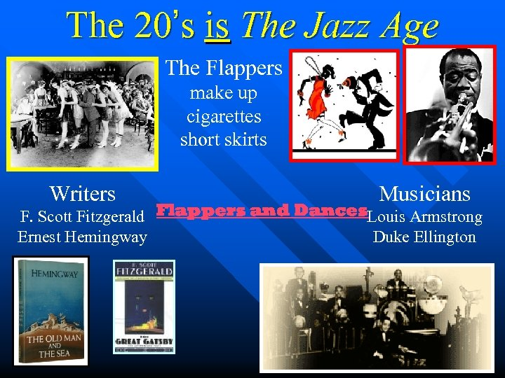 The 20's is The Jazz Age The Flappers make up cigarettes short skirts Writers