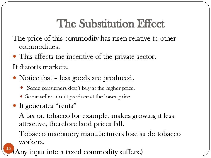 The Substitution Effect The price of this commodity has risen relative to other commodities.