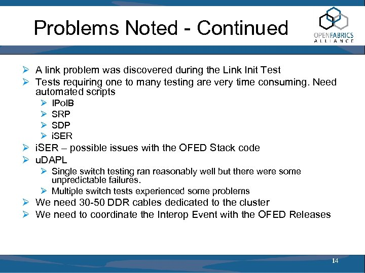 Problems Noted - Continued Ø A link problem was discovered during the Link Init