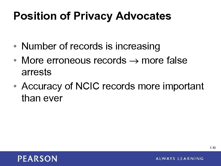 Position of Privacy Advocates • Number of records is increasing • More erroneous records
