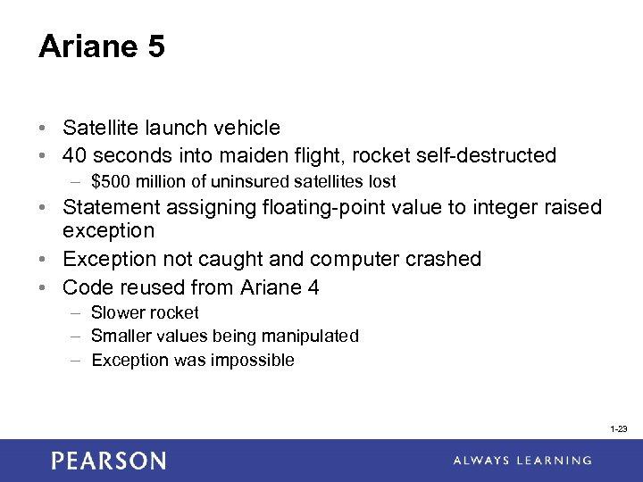 Ariane 5 • Satellite launch vehicle • 40 seconds into maiden flight, rocket self-destructed