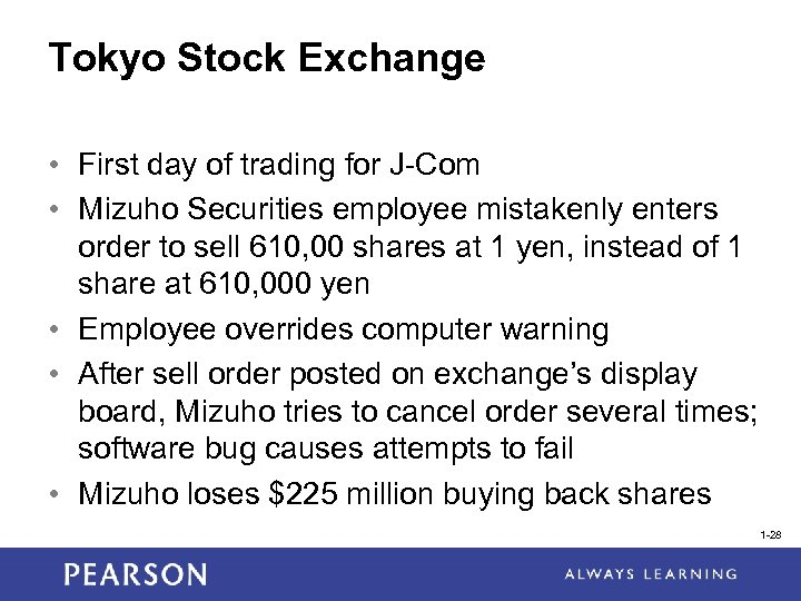 Tokyo Stock Exchange • First day of trading for J-Com • Mizuho Securities employee