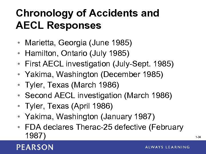 Chronology of Accidents and AECL Responses • • • Marietta, Georgia (June 1985) Hamilton,