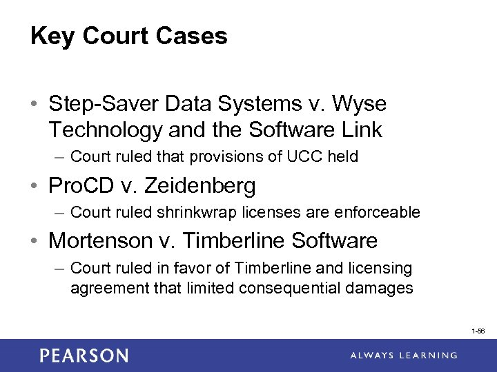 Key Court Cases • Step-Saver Data Systems v. Wyse Technology and the Software Link