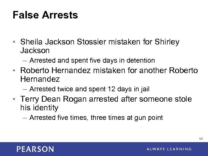 False Arrests • Sheila Jackson Stossier mistaken for Shirley Jackson – Arrested and spent