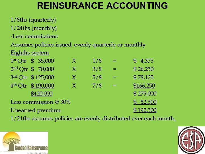 REINSURANCE ACCOUNTING 1/8 ths (quarterly) 1/24 ths (monthly) -Less commissions Assumes policies issued evenly