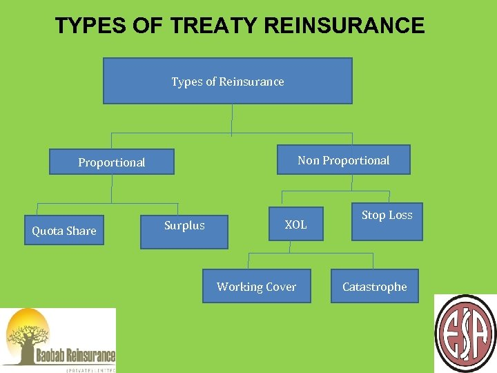 TYPES OF TREATY REINSURANCE Types of Reinsurance Non Proportional Quota Share Surplus XOL Working