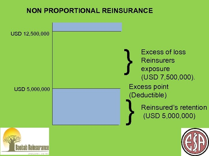 NON PROPORTIONAL REINSURANCE USD 12, 500, 000 } USD 5, 000 Excess of loss