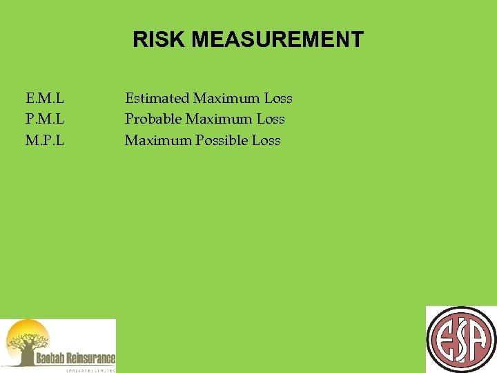RISK MEASUREMENT E. M. L P. M. L M. P. L Estimated Maximum Loss