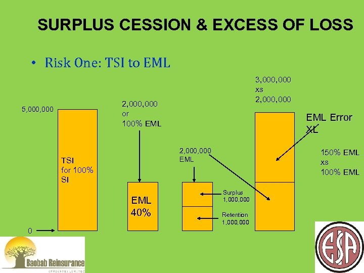 SURPLUS CESSION & EXCESS OF LOSS • Risk One: TSI to EML 2, 000