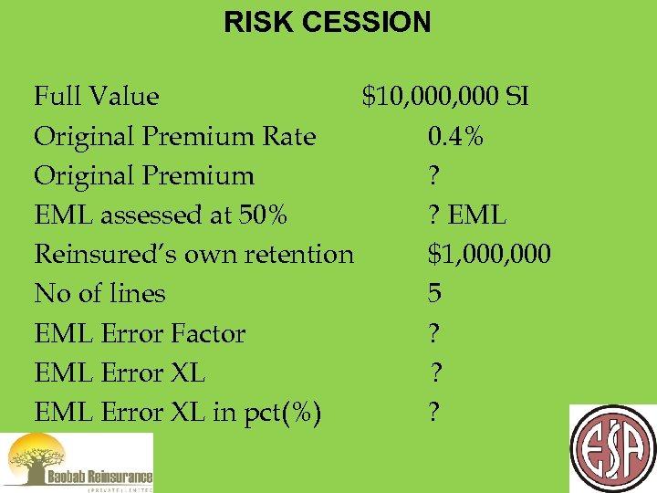 RISK CESSION Full Value $10, 000 SI Original Premium Rate 0. 4% Original Premium