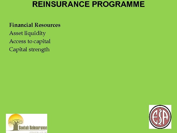 REINSURANCE PROGRAMME Financial Resources Asset liquidity Access to capital Capital strength