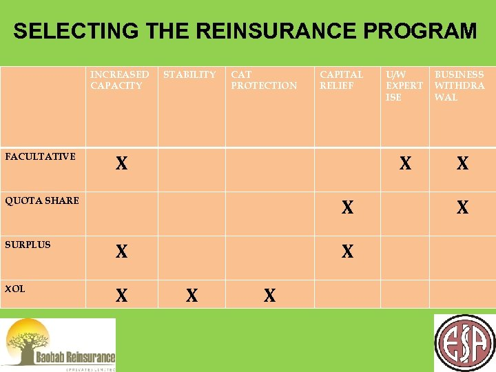 SELECTING THE REINSURANCE PROGRAM INCREASED CAPACITY FACULTATIVE STABILITY CAT PROTECTION CAPITAL RELIEF X X