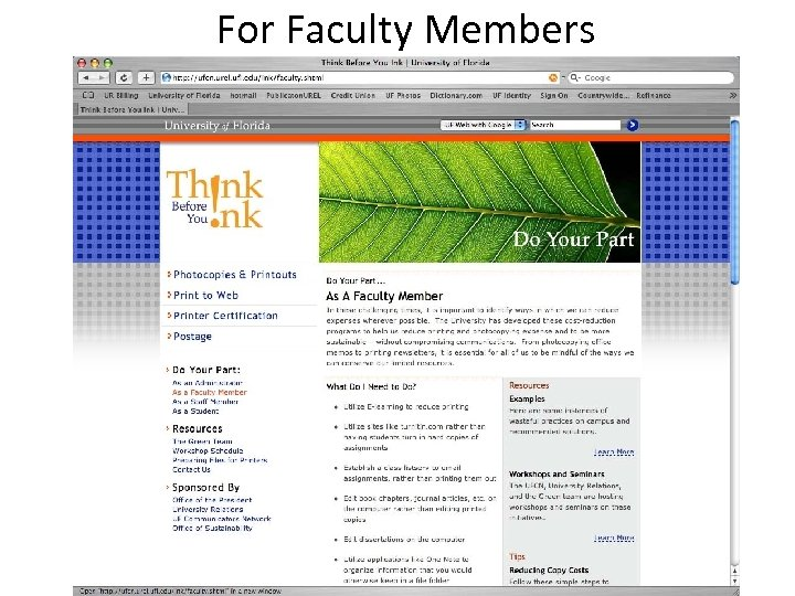 For Faculty Members
