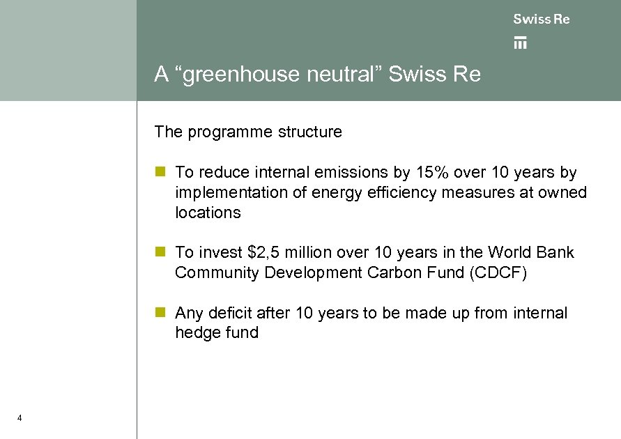 "A ""greenhouse neutral"" Swiss Re The programme structure n To reduce internal emissions by"