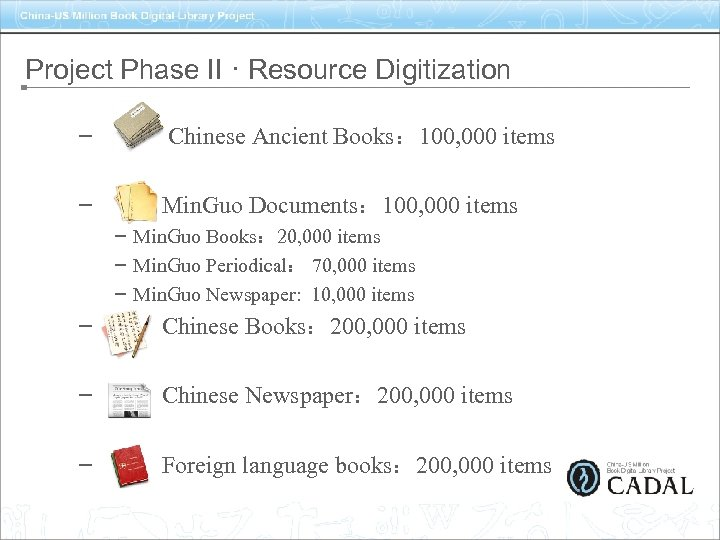 Project Phase II · Resource Digitization – Chinese Ancient Books: 100, 000 items –