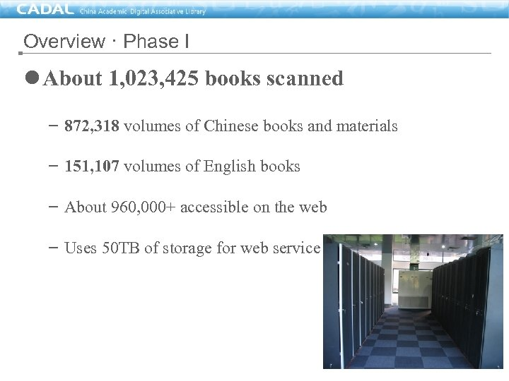 Overview · Phase I l About 1, 023, 425 books scanned – 872, 318