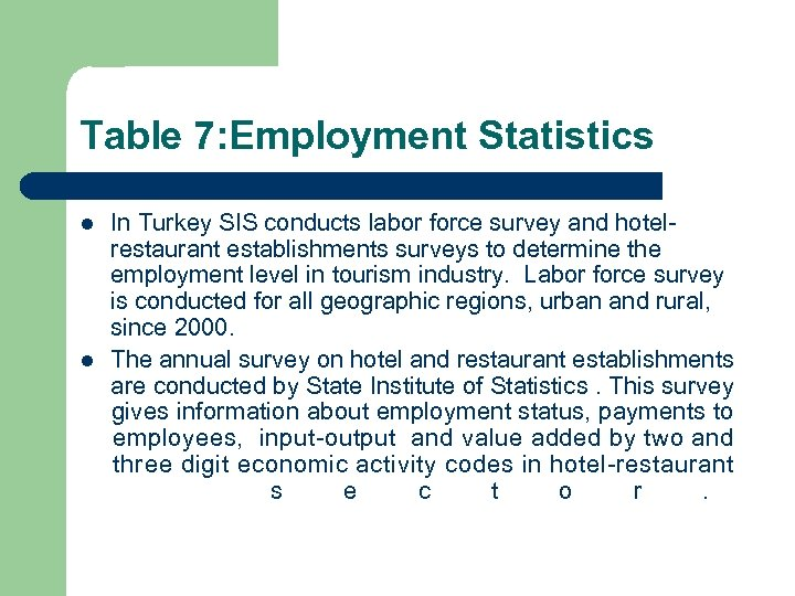 Table 7: Employment Statistics l l In Turkey SIS conducts labor force survey and