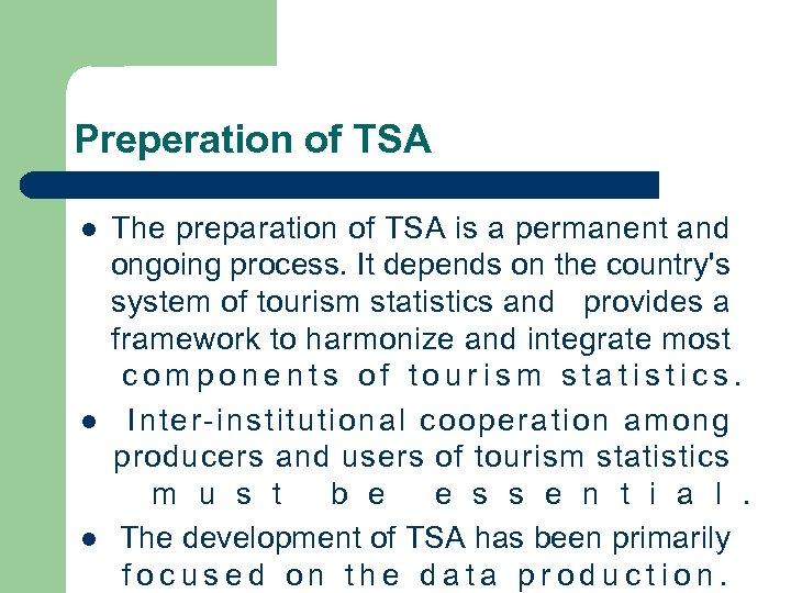 Preperation of TSA l l l The preparation of TSA is a permanent and