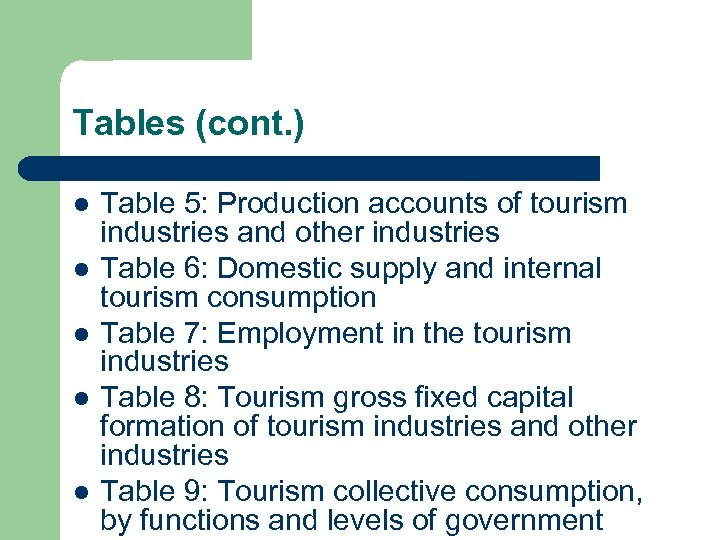Tables (cont. ) l l l Table 5: Production accounts of tourism industries and