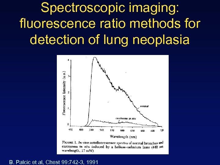 Spectroscopic imaging: fluorescence ratio methods for detection of lung neoplasia B. Palcic et al,