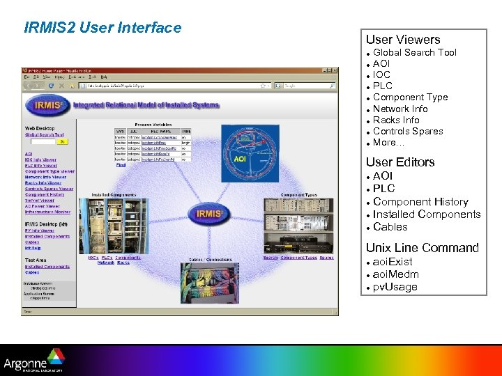 IRMIS 2 User Interface User Viewers Global Search Tool AOI IOC PLC Component Type