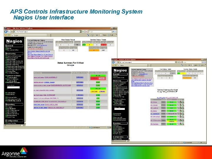 APS Controls Infrastructure Monitoring System Nagios User Interface