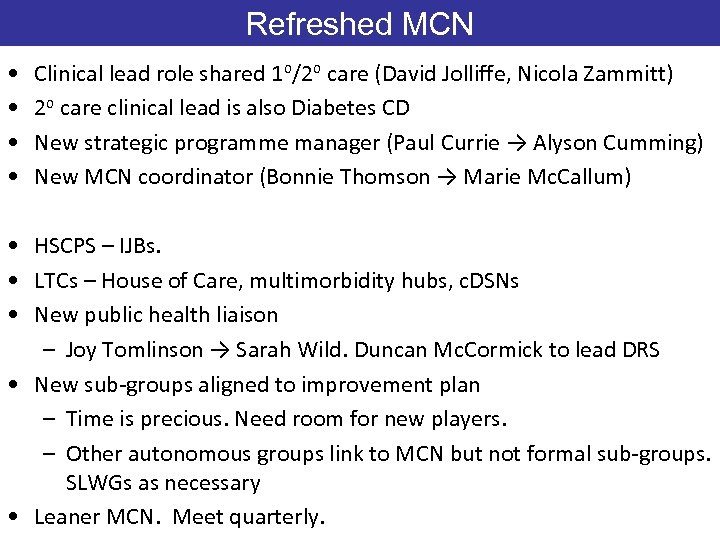 Refreshed MCN • • Clinical lead role shared 1 o/2 o care (David Jolliffe,