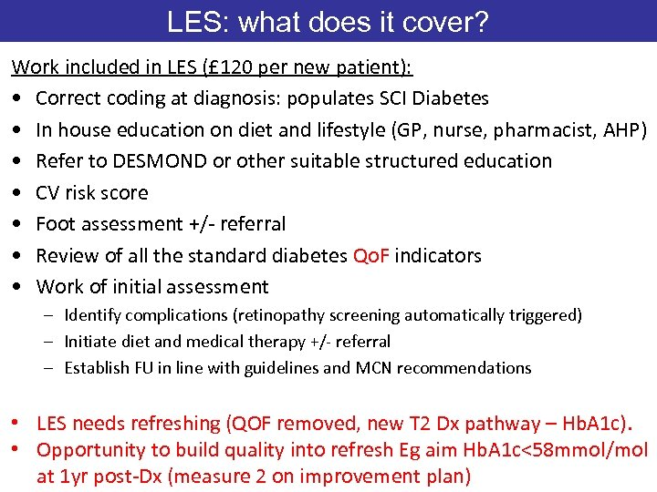 LES: what does it cover? Work included in LES (£ 120 per new patient):
