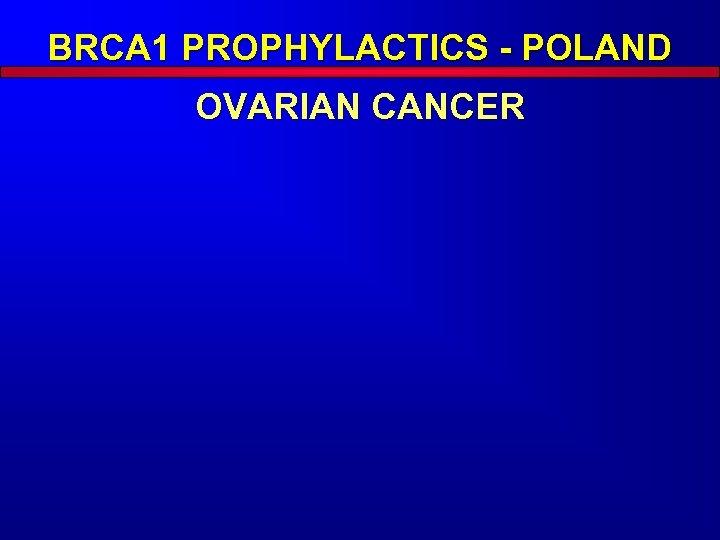 BRCA 1 PROPHYLACTICS - POLAND OVARIAN CANCER