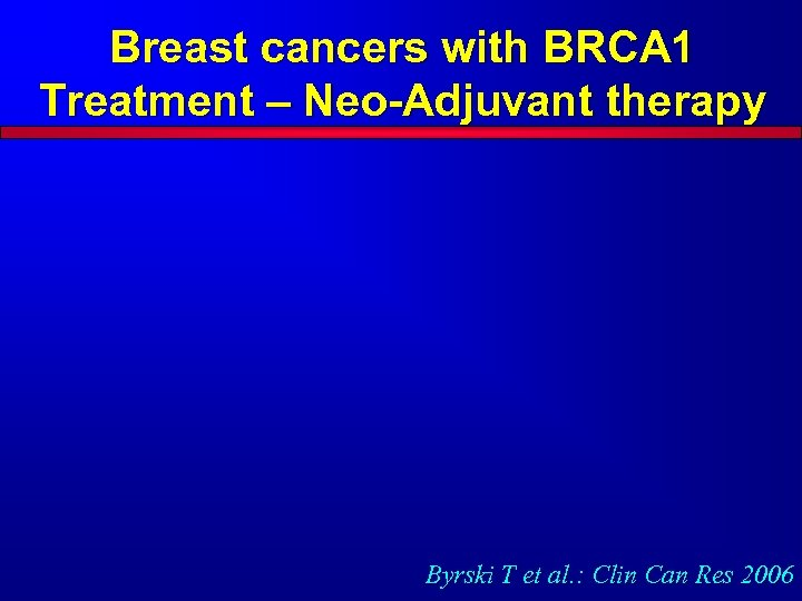 Breast cancers with BRCA 1 Treatment – Neo-Adjuvant therapy Byrski T et al. :