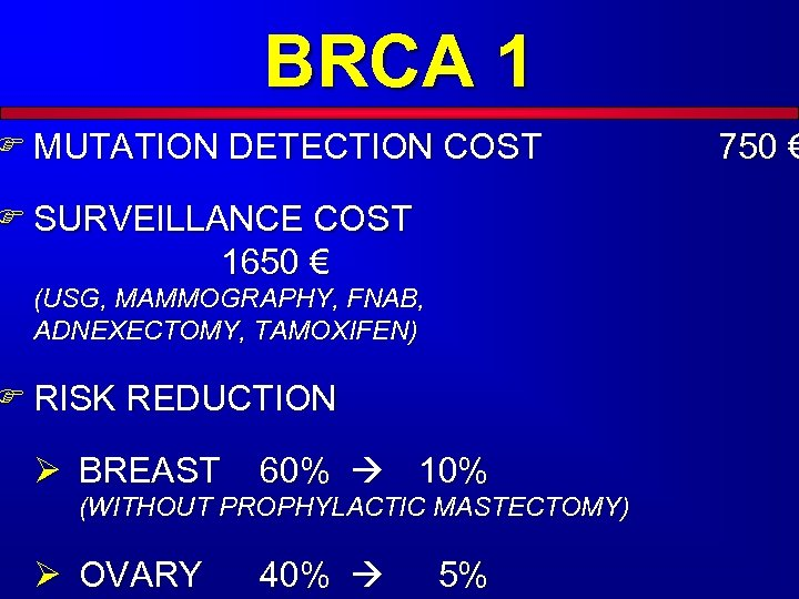BRCA 1 F MUTATION DETECTION COST F SURVEILLANCE COST 1650 € (USG, MAMMOGRAPHY, FNAB,