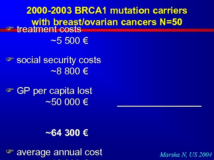2000 -2003 BRCA 1 mutation carriers with breast/ovarian cancers N=50 F treatment costs ~5