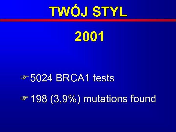 TWÓJ STYL 2001 F 5024 BRCA 1 tests F 198 (3, 9%) mutations found