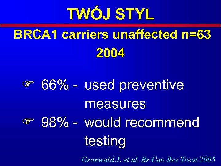 TWÓJ STYL BRCA 1 carriers unaffected n=63 2004 F 66% - used preventive measures