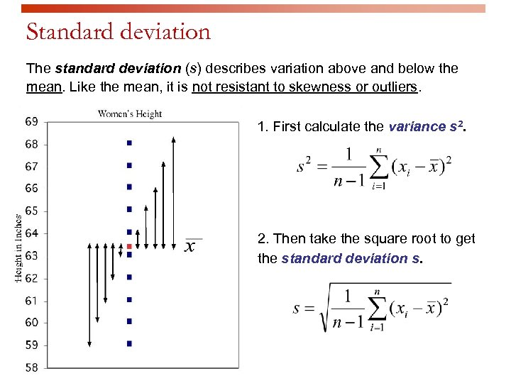 Standard deviation The standard deviation (s) describes variation above and below the mean. Like
