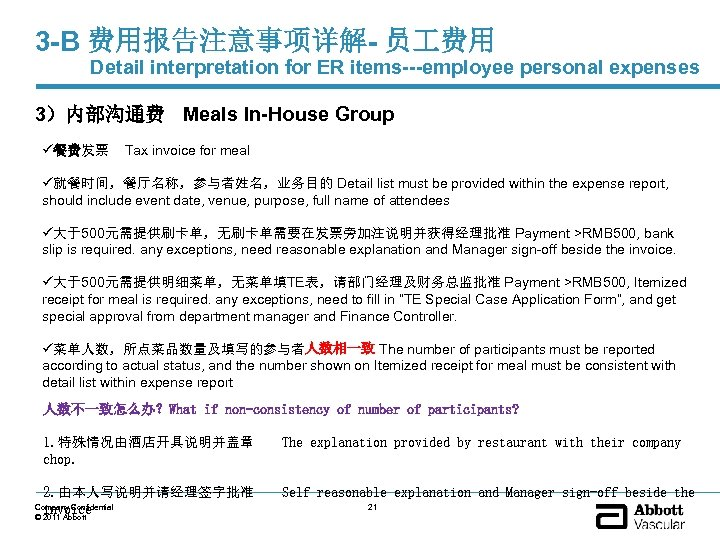 3 -B 费用报告注意事项详解- 员 费用 Detail interpretation for ER items---employee personal expenses 3)内部沟通费 Meals