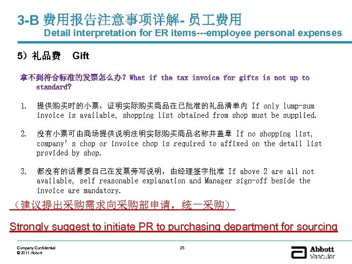 3 -B 费用报告注意事项详解- 员 费用 Detail interpretation for ER items---employee personal expenses 5)礼品费 Gift