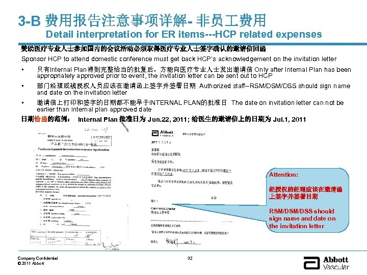 3 -B 费用报告注意事项详解- 非员 费用 Detail interpretation for ER items---HCP related expenses 赞助医疗专业人士参加国内的会议活动必须取得医疗专业人士签字确认的邀请信回函 Sponsor