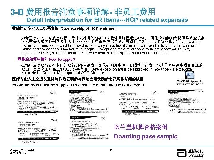 3 -B 费用报告注意事项详解- 非员 费用 Detail interpretation for ER items---HCP related expenses 赞助医疗专业人士机票费用 Sponsorship