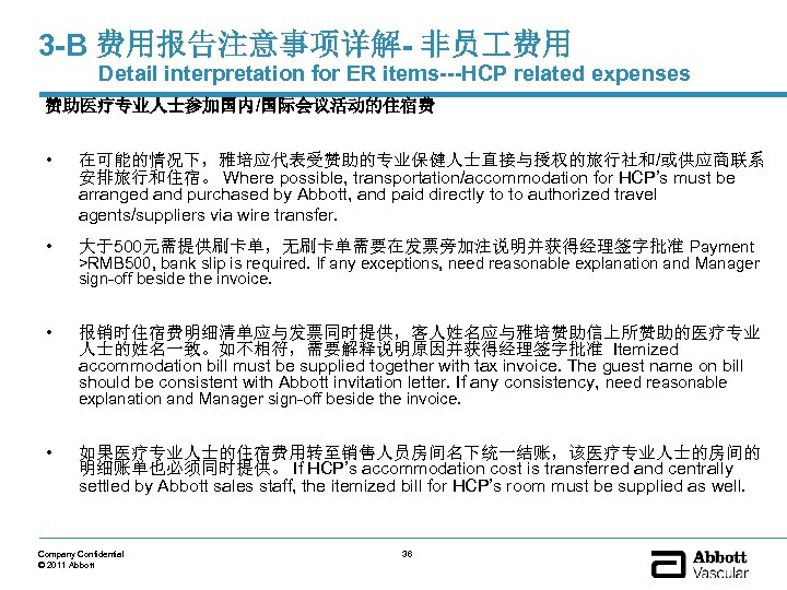 3 -B 费用报告注意事项详解- 非员 费用 Detail interpretation for ER items---HCP related expenses 赞助医疗专业人士参加国内/国际会议活动的住宿费 •