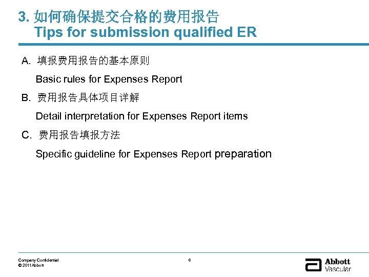 3. 如何确保提交合格的费用报告 Tips for submission qualified ER A. 填报费用报告的基本原则 Basic rules for Expenses Report