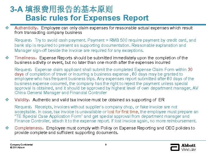 3 -A 填报费用报告的基本原则 Basic rules for Expenses Report v Authenticity:Employee can only claim expenses