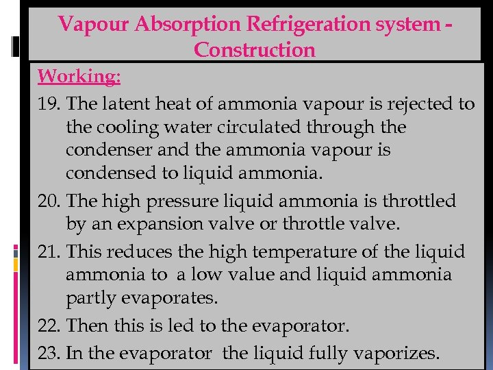Vapour Absorption Refrigeration system Construction Working: 19. The latent heat of ammonia vapour is