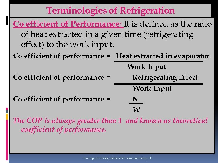 Terminologies of Refrigeration Co efficient of Performance: It is defined as the ratio of